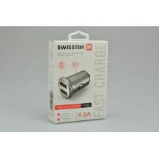 Mini nabíječka mobilů do auta v kovovém provedení SWISSTEN 4.8A - Stříbrná
