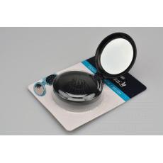 Kapesní zrcátko s kartáčem na vlasy ELEGANZA - Černé (7,5x3,5cm)