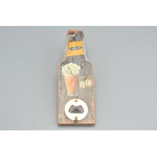 Stylový otvírák na pivo se šňůrkou - Černý (19,5x7cm)
