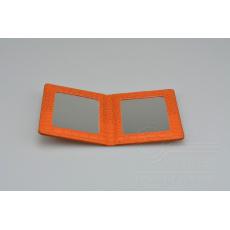 Kapesní zrcátko MR.PIN v imitaci kůže - Oranžové (10,5x8cm)