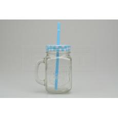 Skleněná lahev na osvěžující nápoje s plechovým víčkem a brčkem (450ml) - Modrá