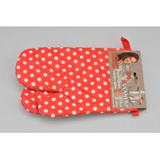 Teflonové kuchyňské rukavice s magnetem - Set 2ks (26x18cm) - Červené s puntíky