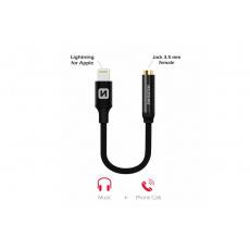 Audio adaptér textile lightning / jack (samice) 0,15 m černý