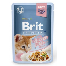 Brit Premium Cat Delicate Fillets in Gravy Chicken for Kitten 85 g 3+1 ZDARMA