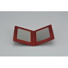 Kapesní zrcátko MR.PIN v imitaci kůže - Tmavě červené (10,5x8cm)