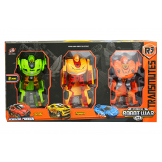 Transformační roboti L010-A33 - 3ks, zelený, žlutý, oranžový