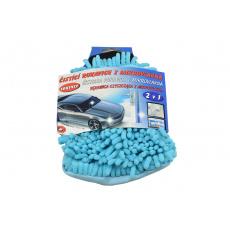 Čistící rukavice z mikrovlákna 2v1 - Modrá