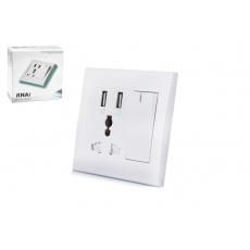RNAi 2 Port USB Switch zásuvkový nabíjecí nástěnný panel